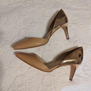 Calvin Klein nude gold pointy toe pump heels